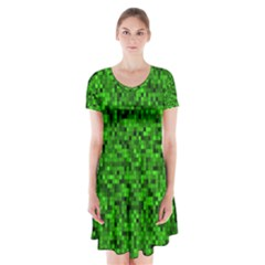 Green Mosaic Short Sleeve V-neck Flare Dress by retrotoomoderndesigns