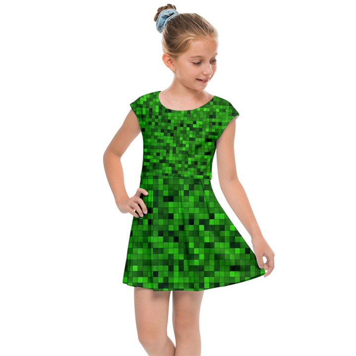 Green Mosaic Kids  Cap Sleeve Dress