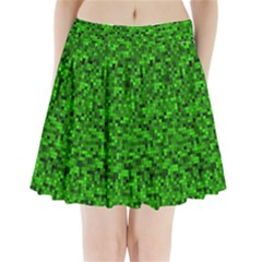 Green Mosaic Pleated Mini Skirt by retrotoomoderndesigns