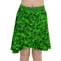 Green Mosaic Chiffon Wrap Front Skirt by retrotoomoderndesigns