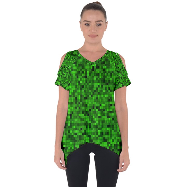 Green Mosaic Cut Out Side Drop Tee