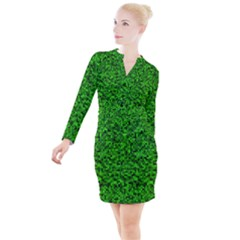 Green Mosaic Button Long Sleeve Dress