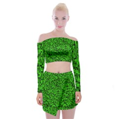 Green Mosaic Off Shoulder Top With Mini Skirt Set by retrotoomoderndesigns