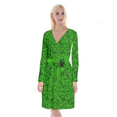 Green Mosaic Long Sleeve Velvet Front Wrap Dress by retrotoomoderndesigns