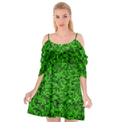 Green Mosaic Cutout Spaghetti Strap Chiffon Dress by retrotoomoderndesigns