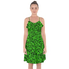 Green Mosaic Ruffle Detail Chiffon Dress by retrotoomoderndesigns
