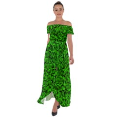 Green Mosaic Off Shoulder Open Front Chiffon Dress by retrotoomoderndesigns