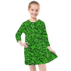 Green Mosaic Kids  Quarter Sleeve Shirt Dress by retrotoomoderndesigns