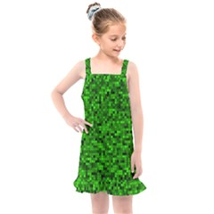 Green Mosaic Kids  Overall Dress by retrotoomoderndesigns