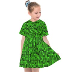 Green Mosaic Kids  Sailor Dress by retrotoomoderndesigns