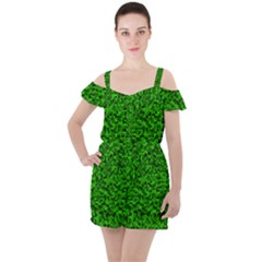 Green Mosaic Ruffle Cut Out Chiffon Playsuit by retrotoomoderndesigns