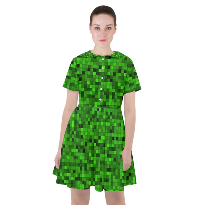 Green Mosaic Sailor Dress