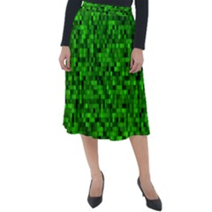Green Mosaic Classic Velour Midi Skirt  by retrotoomoderndesigns