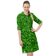 Green Mosaic Long Sleeve Mini Shirt Dress