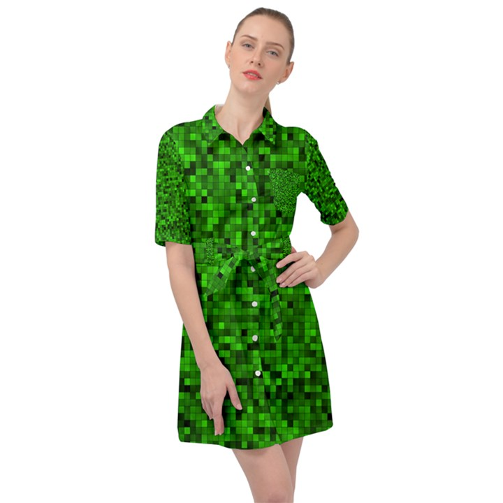 Green Mosaic Belted Shirt Dress