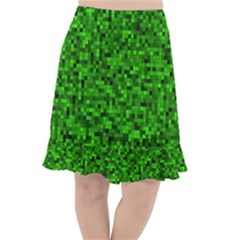 Green Mosaic Fishtail Chiffon Skirt by retrotoomoderndesigns