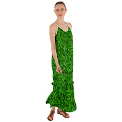 Green Mosaic Cami Maxi Ruffle Chiffon Dress by retrotoomoderndesigns