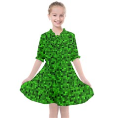 Green Mosaic Kids  All Frills Chiffon Dress by retrotoomoderndesigns