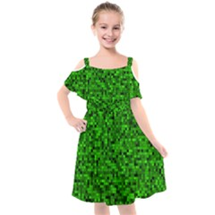 Green Mosaic Kids  Cut Out Shoulders Chiffon Dress by retrotoomoderndesigns