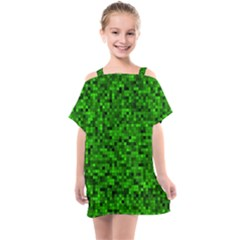 Green Mosaic Kids  One Piece Chiffon Dress by retrotoomoderndesigns
