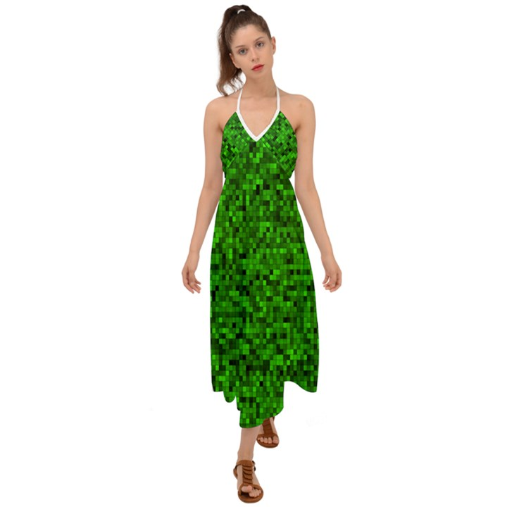 Green Mosaic Halter Tie Back Dress