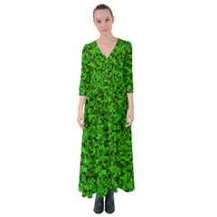 Green Mosaic Button Up Maxi Dress by retrotoomoderndesigns