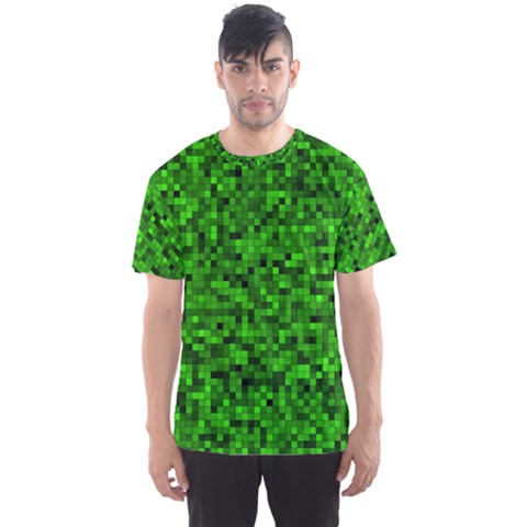 Green Mosaic Men s Sports Mesh Tee by retrotoomoderndesigns