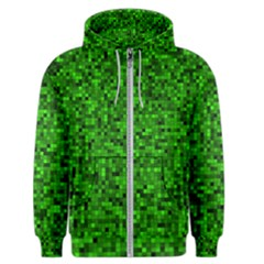 Green Mosaic Men s Zipper Hoodie by retrotoomoderndesigns