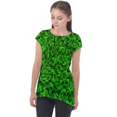 Green Mosaic Cap Sleeve High Low Top