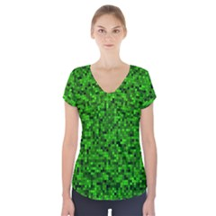 Green Mosaic Short Sleeve Front Detail Top by retrotoomoderndesigns