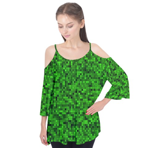 Green Mosaic Flutter Tees by retrotoomoderndesigns