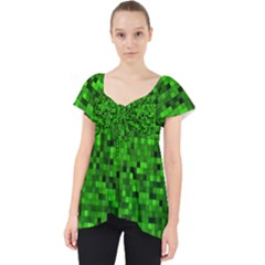 Green Mosaic Lace Front Dolly Top