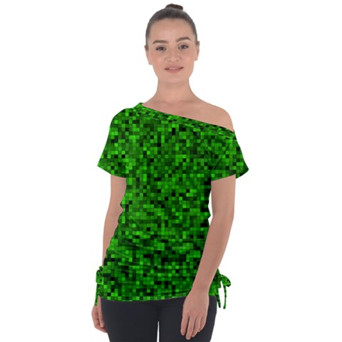 Green Mosaic Tie-up Tee by retrotoomoderndesigns