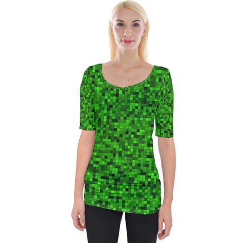 Green Mosaic Wide Neckline Tee by retrotoomoderndesigns