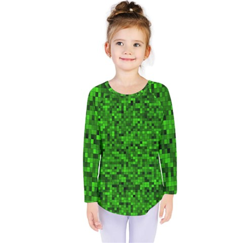 Green Mosaic Kids  Long Sleeve Tee by retrotoomoderndesigns