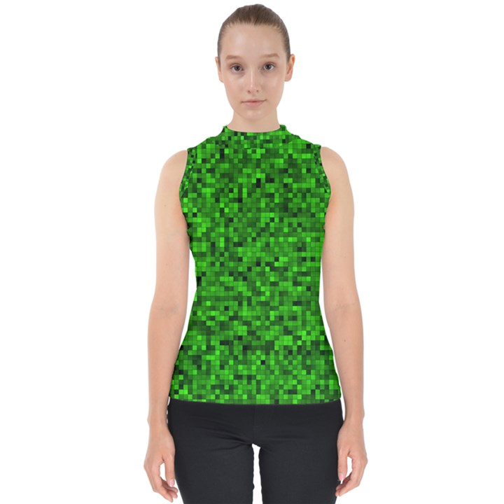 Green Mosaic Mock Neck Shell Top