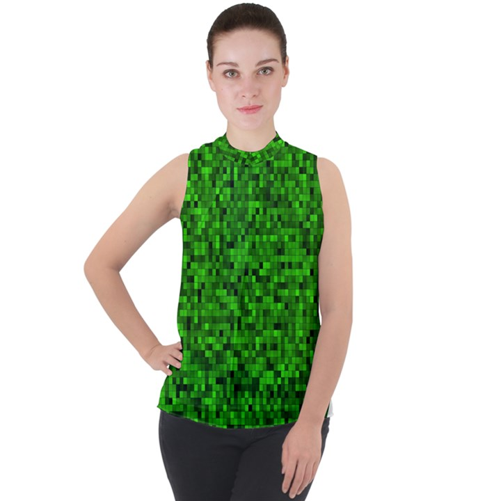 Green Mosaic Mock Neck Chiffon Sleeveless Top