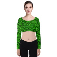 Green Mosaic Velvet Long Sleeve Crop Top by retrotoomoderndesigns