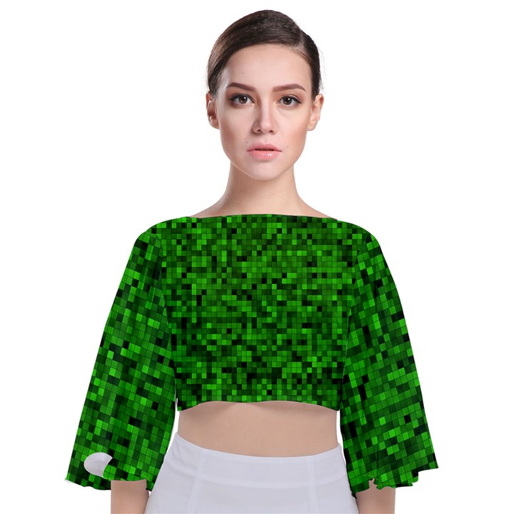 Green Mosaic Tie Back Butterfly Sleeve Chiffon Top