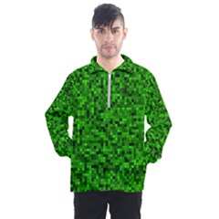 Green Mosaic Men s Half Zip Pullover by retrotoomoderndesigns