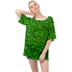 Green Mosaic Oversized Chiffon Top by retrotoomoderndesigns