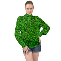 Green Mosaic High Neck Long Sleeve Chiffon Top by retrotoomoderndesigns