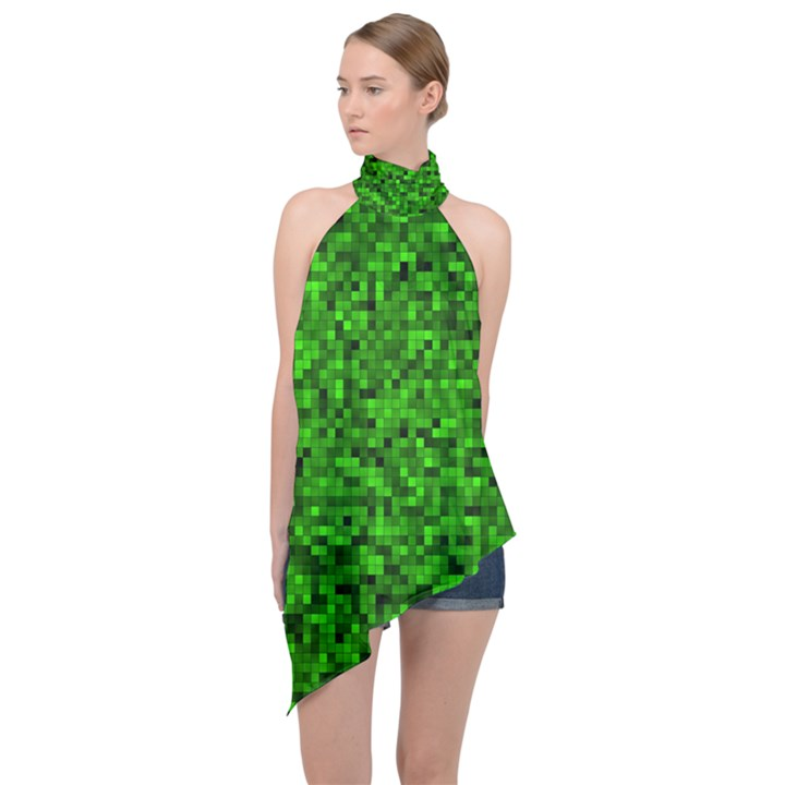 Green Mosaic Halter Asymmetric Satin Top