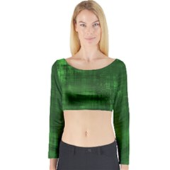 Green Grunge Long Sleeve Crop Top by retrotoomoderndesigns