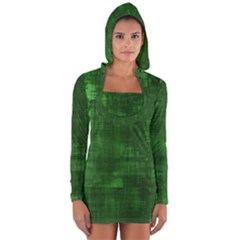 Green Grunge Long Sleeve Hooded T-shirt by retrotoomoderndesigns