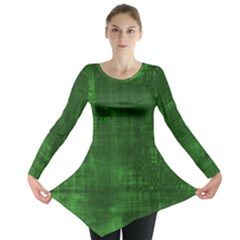 Green Grunge Long Sleeve Tunic  by retrotoomoderndesigns