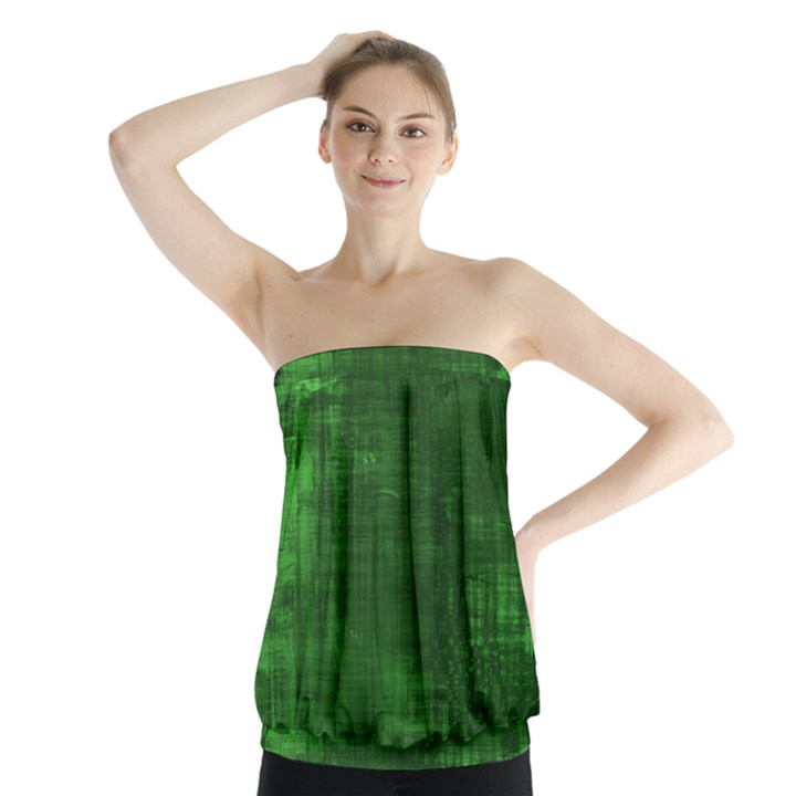 Green Grunge Strapless Top