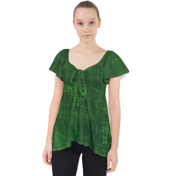 Green Grunge Lace Front Dolly Top