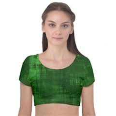 Green Grunge Velvet Short Sleeve Crop Top  by retrotoomoderndesigns