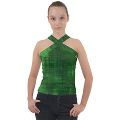Green Grunge Cross Neck Velour Top by retrotoomoderndesigns